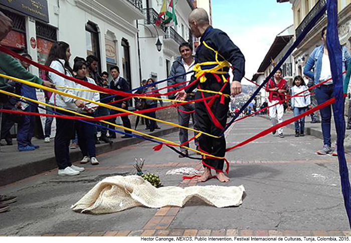 Hector Canonge, NEXOS, Public Intervention, Festival Internacional de Cultural, Tunja, Colombia.